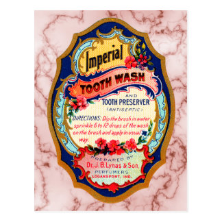 Vintage Imperial Tooth Wash Label Postcard