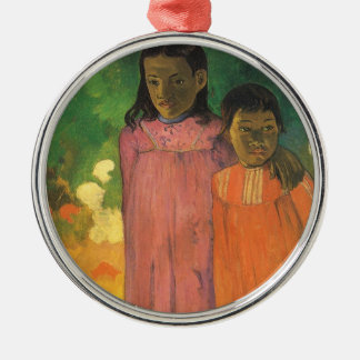 Vintage Impressionism Art, Two Sisters by Gauguin Silver-Colored Round Decoration