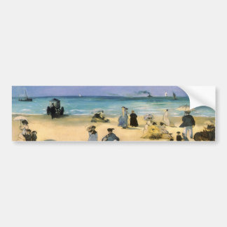 Vintage Impressionism, Beach at Boulogne by Manet Bumper Sticker