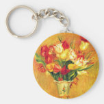 Vintage Impressionism Flowers, Tulips by Renoir Basic Round Button Key Ring