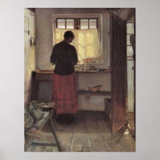 Vintage Impressionism, Pigen i Køkkenet, Ancher Poster