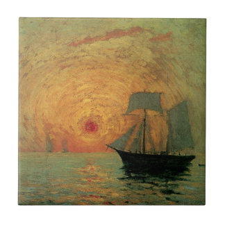 Vintage Impressionism, Red Sun by Maxime Maufra Tile