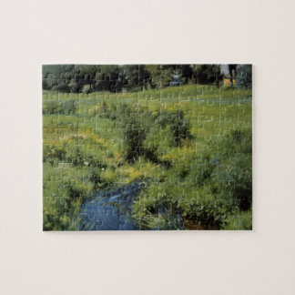 Vintage Impressionism, The Pool Medfield by Bunker Jigsaw Puzzle