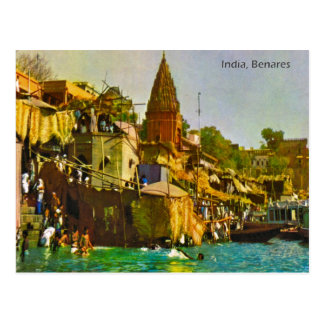 Vintage, India, Benares, River Ganges Postcard