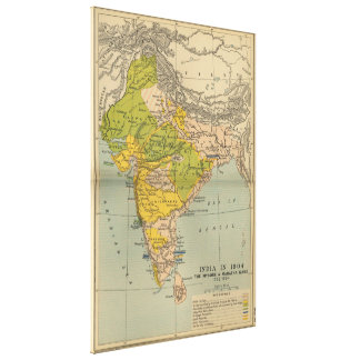 Vintage India Maratha and Mysore War Map (1804) Canvas Print