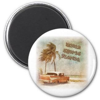 Vintage Indian Shores Beach Scene 6 Cm Round Magnet