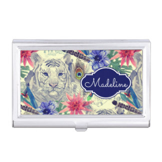 Vintage Indian Style Tiger Pattern | Add Your Name Business Card Holders