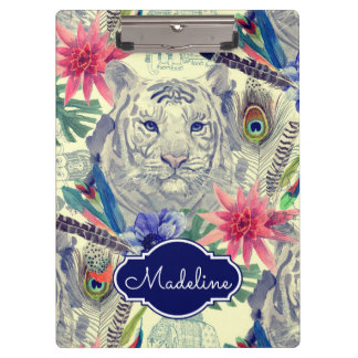 Vintage Indian Style Tiger Pattern | Add Your Name Clipboard