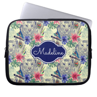 Vintage Indian Style Tiger Pattern | Add Your Name Laptop Sleeve
