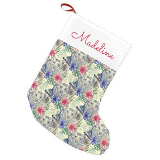 Vintage Indian Style Tiger Pattern | Add Your Name Small Christmas Stocking