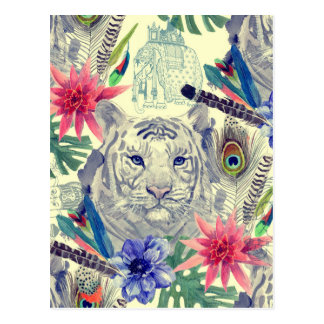 Vintage Indian Style Tiger Pattern Postcard