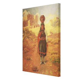 Vintage Indian Water Carrier by EW Rollins Canvas Print