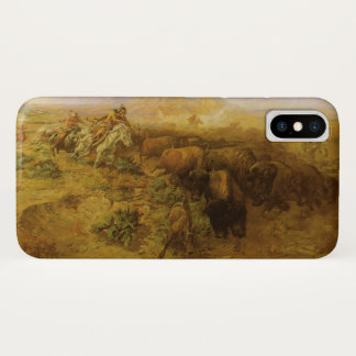 Vintage Indians, Buffalo Hunt by CM Russell iPhone X Case