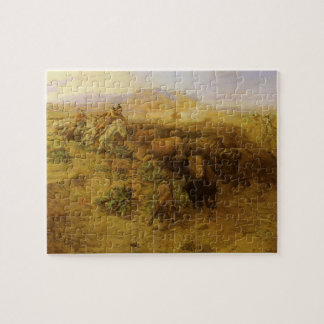 Vintage Indians, Buffalo Hunt by CM Russell Jigsaw Puzzle