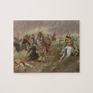 Vintage Indians, For Supremacy by CM Russell Jigsaw Puzzle