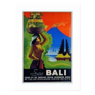 Vintage Indonesia Bali Travel Poster Postcard