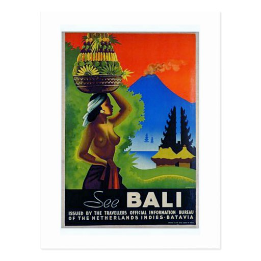 Vintage Indonesia Bali Travel Poster Post Card