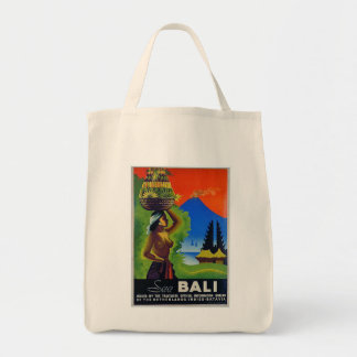 Vintage Indonesia Bali Travel Poster Tote Bag