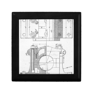 Vintage Industrial Mechanic's Graphic Small Square Gift Box