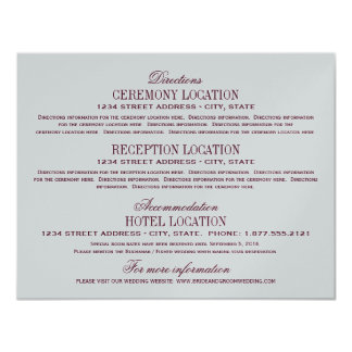 Vintage Information Cards | Burgundy and Silver 11 Cm X 14 Cm Invitation Card