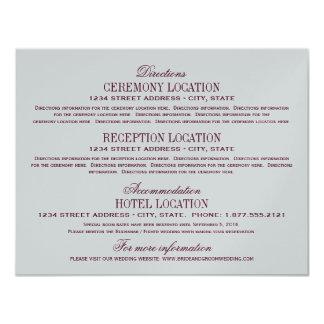 Vintage Information Cards | Burgundy and Silver 11 Cm X 14 Cm Invitation Card