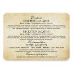 Vintage Information Cards   Rustic Elegance Custom Invites