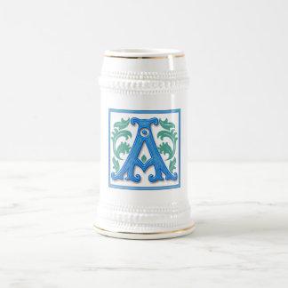 Vintage Initial A - Monogram A Beer Stein