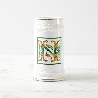 Vintage Initial N - Monogram N Beer Stein