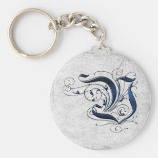 Vintage Initial V Basic Round Button Key Ring