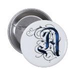 Vintage Initials A Pinback Button
