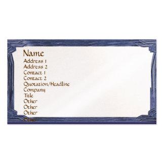 Vintage Ink Blue Wood Look Frame Business Card Template