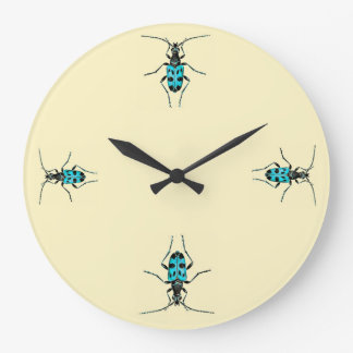 Vintage Insects Blue Beetle Time Entomology Large Clock