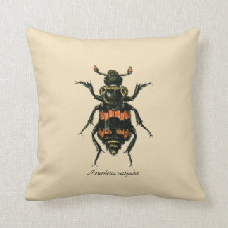 Vintage Insects Entomology Reversible Polyester Cushion