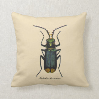 Vintage Insects Entomology Reversible Polyester Throw Pillow