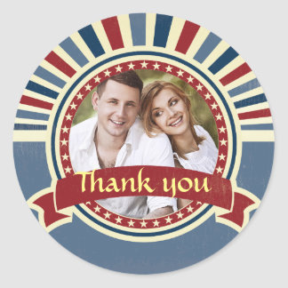 Vintage insert wedding photo red blue template round sticker