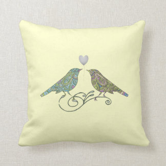 Vintage Inspired Cute Love Birds Yellow Green Blue Cushion