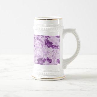Vintage Inspired Floral Mauve Beer Stein