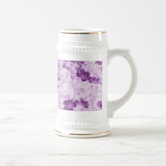 Vintage Inspired Floral Mauve Beer Steins