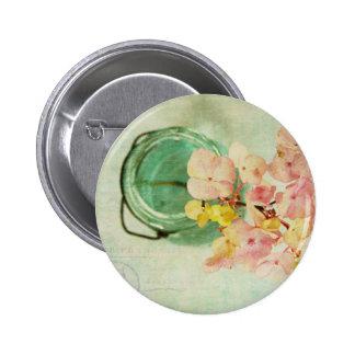 Vintage Inspired Hydrangea in Blue Glass Jar Pin