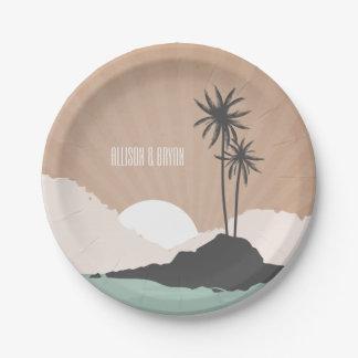 Vintage Inspired Island Beach Wedding 7 Inch Paper Plate