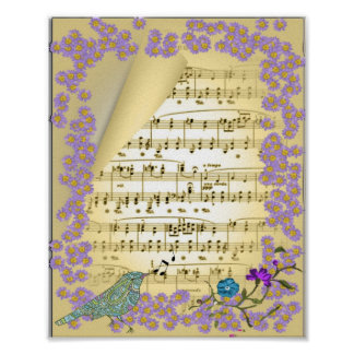 Vintage Inspired Music Bird Floral Poster Print