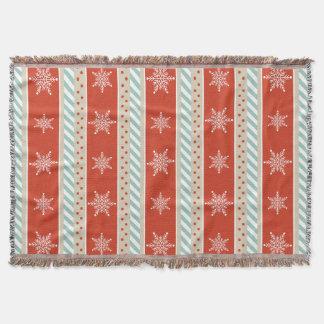 Vintage Inspired Red Mint Snowflakes Pattern Throw Blanket