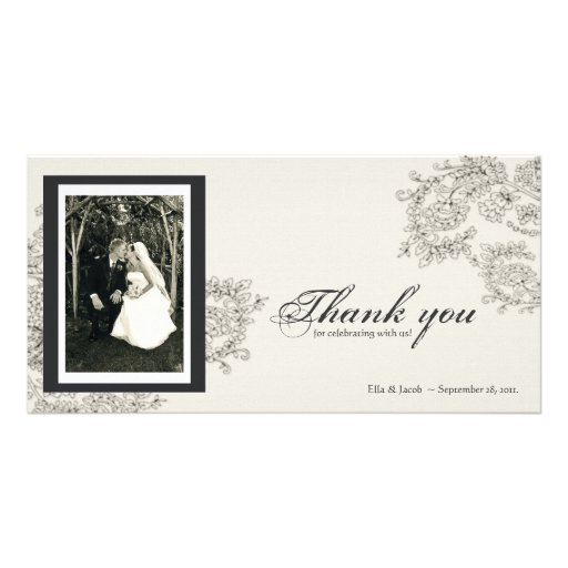 Vintage Inspired Thank You Card Photo Greeting Card