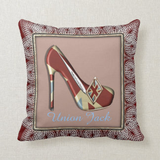 Vintage Inspired Union Jack High Heel Shoe Cushion