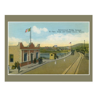 Vintage international bridge and customs El Paso Postcard