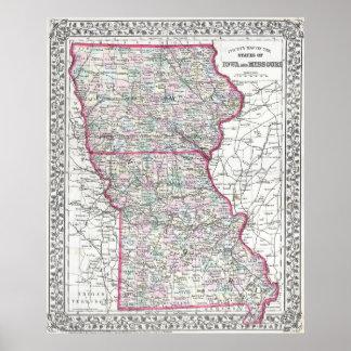 Vintage Iowa and Missouri Map (1874) Poster