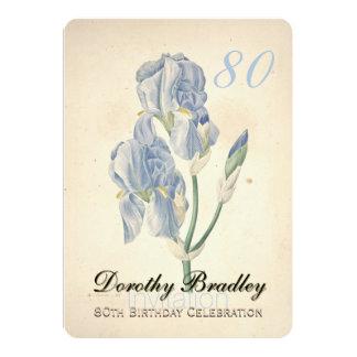 Vintage Iris 80th Birthday Celebration Invitation