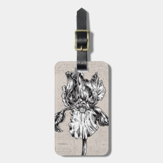 Vintage Iris Drawing Luggage Tag