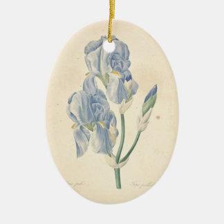 Vintage Irises custom Memorial Photo Ornament