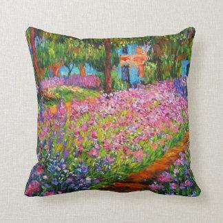 Vintage Irises in Monet's Garden Throw Pillow